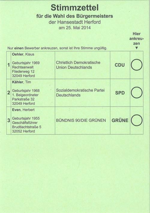 Stimmzettel zur Wahl des Bürgermeisters der Hansestadt Herford