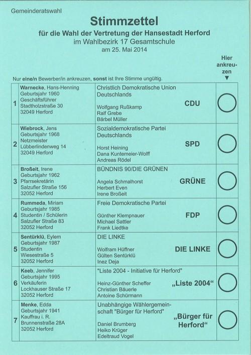 Stimmzettel für die Wahl der Vertretung der Hansestadt Herford