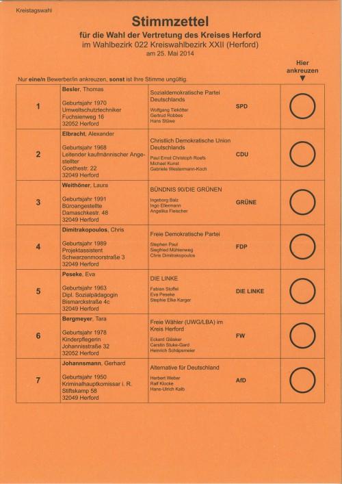 Stimmzettel für die Wahl der Vertretung des Kreises Herford